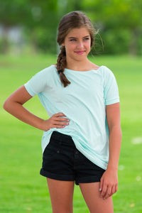 Short Sleeve Kids Piko Top - Mint - Piko Clothing