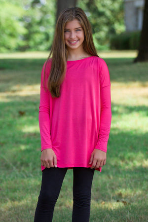 Long Sleeve Kids Piko Top - Hot Pink - Piko Clothing