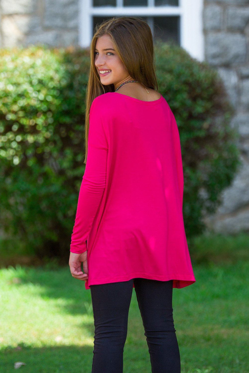 Long Sleeve Kids Piko Top - Fuchsia - Piko Clothing
