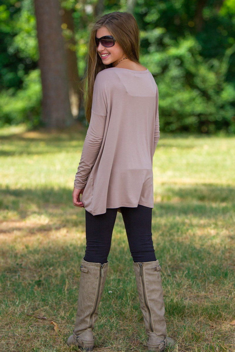 Long Sleeve Kids Piko Top - Taupe - Piko Clothing