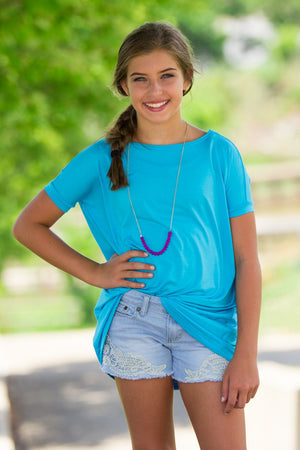 Short Sleeve Kids Piko Top - Sky Blue - Piko Clothing - 1