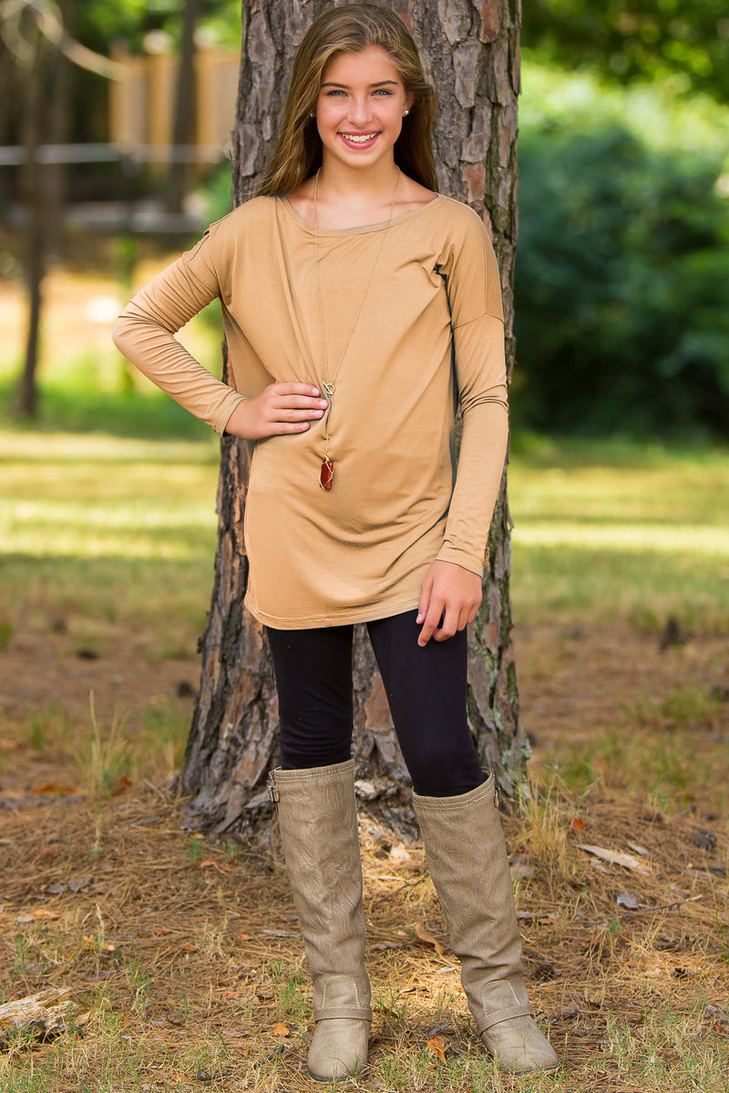 Long Sleeve Kids Piko Top - Iced Coffee - Piko Clothing