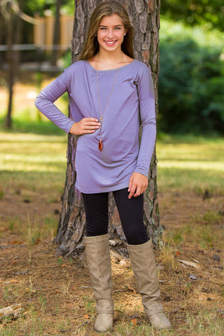 Long Sleeve Kids Piko Top - Lilac Grey