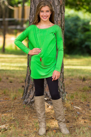 Long Sleeve Kids Piko Top - Green Flash