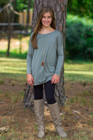 Long Sleeve Kids Piko Top - Olive - Piko Clothing