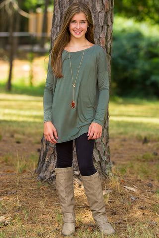 Long Sleeve Kids Piko Top - Army