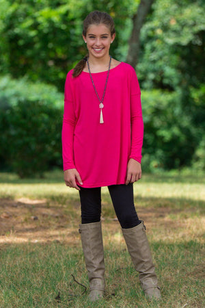 Long Sleeve Kids Piko Top - Cherry - Piko Clothing