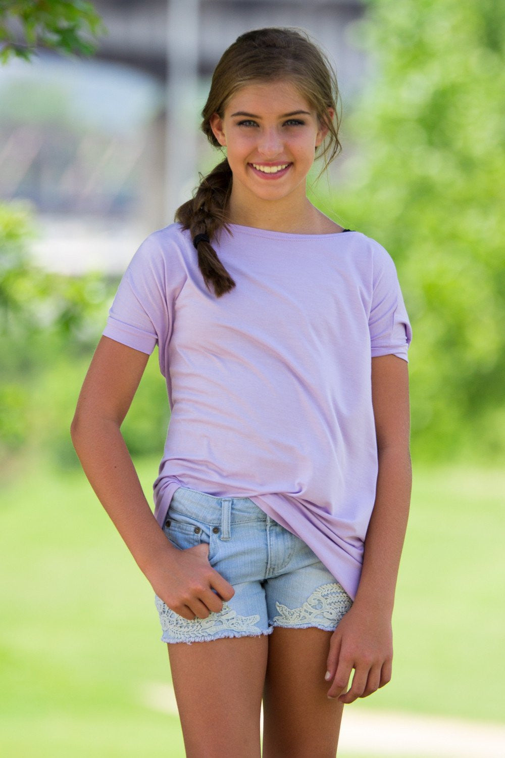 Short Sleeve Kids Piko Top - Lilac - Piko Clothing - 1