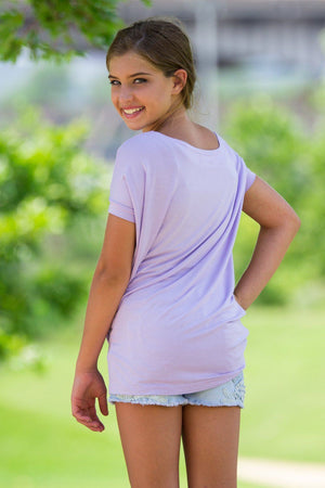 Short Sleeve Kids Piko Top - Lilac - Piko Clothing