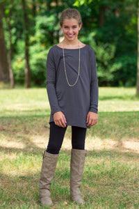 Long Sleeve Kids Piko Top - Dark Grey - Piko Clothing