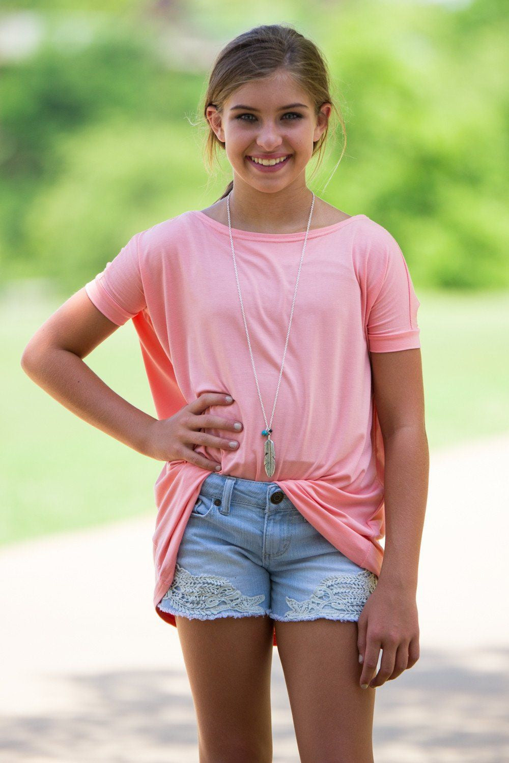 Short Sleeve Kids Piko Top - Peach - Piko Clothing - 1