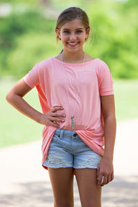 Short Sleeve Kids Piko Top - Peach - Piko Clothing