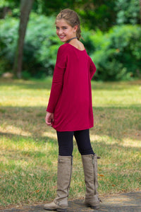 Long Sleeve Kids Piko Top - Wine - Piko Clothing