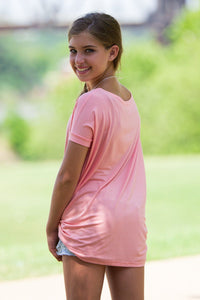 Short Sleeve Kids Piko Top - Peach - Piko Clothing - 2