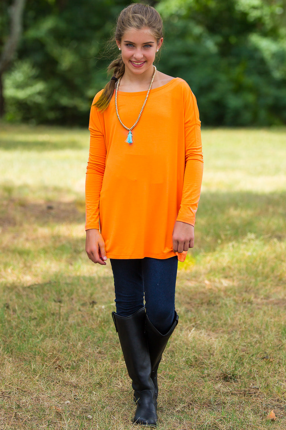 Long Sleeve Kids Piko Top - Orange - Piko Clothing