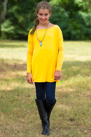 Long Sleeve Kids Piko Top - Buttercup