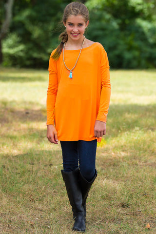 Long Sleeve Kids Piko Top - Orange