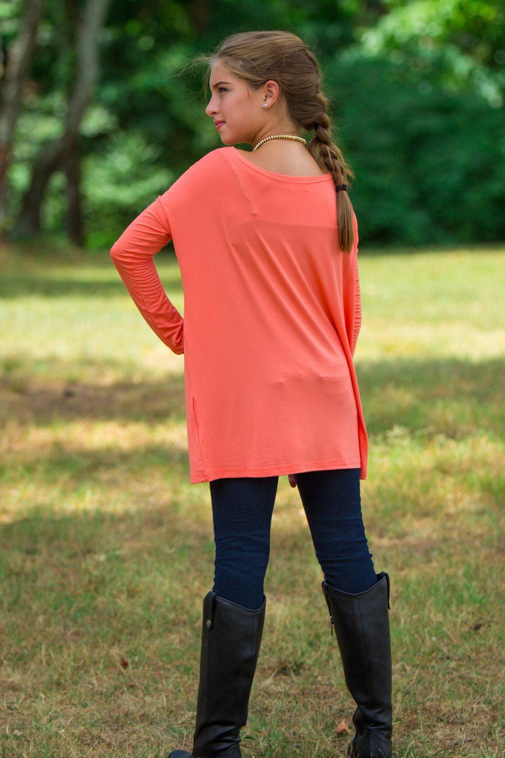 Long Sleeve Kids Piko Top - Dark Peach - Piko Clothing