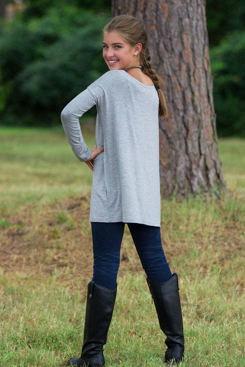Long Sleeve Kids Piko Top - Heather Grey - Piko Clothing