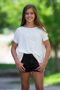 Short Sleeve Kids Piko Top - Off White - Piko Clothing - 1