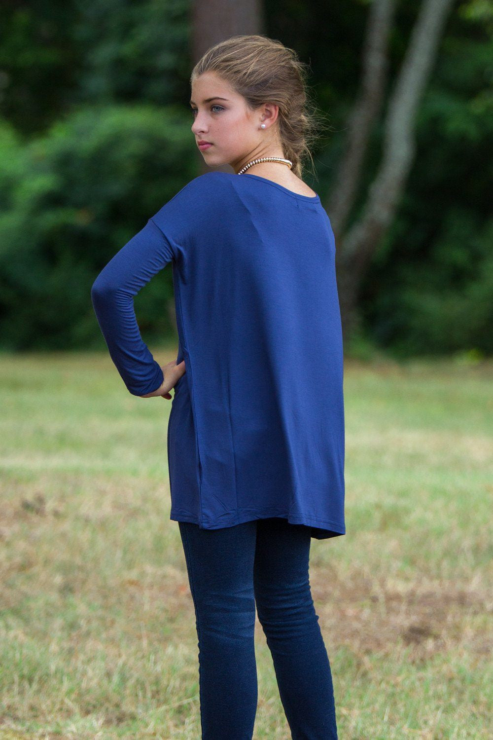 Long Sleeve Kids Piko Top - Navy - Piko Clothing