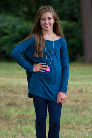 Long Sleeve Kids Piko Top - Majolica Blue - Piko Clothing