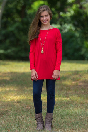 Long Sleeve Kids Piko Top - Red - Piko Clothing
