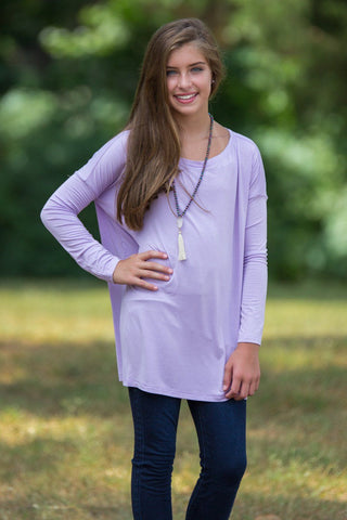 Long Sleeve Kids Piko Top - Lilac - Piko Clothing