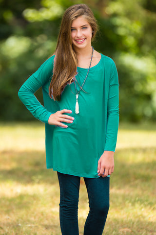 Long Sleeve Kids Piko Top - Green