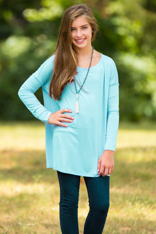 Long Sleeve Kids Piko Top - Limpet Shell