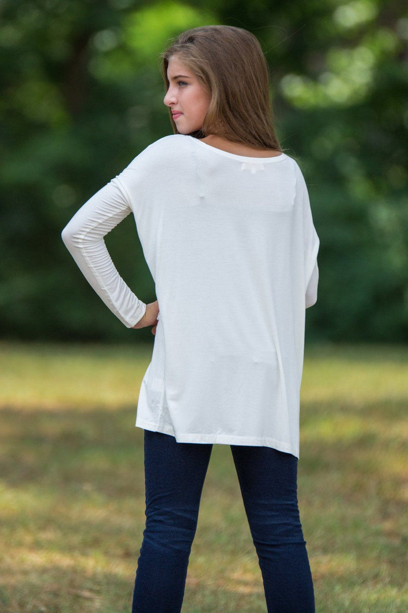 Long Sleeve Kids Piko Top - Off White - Piko Clothing