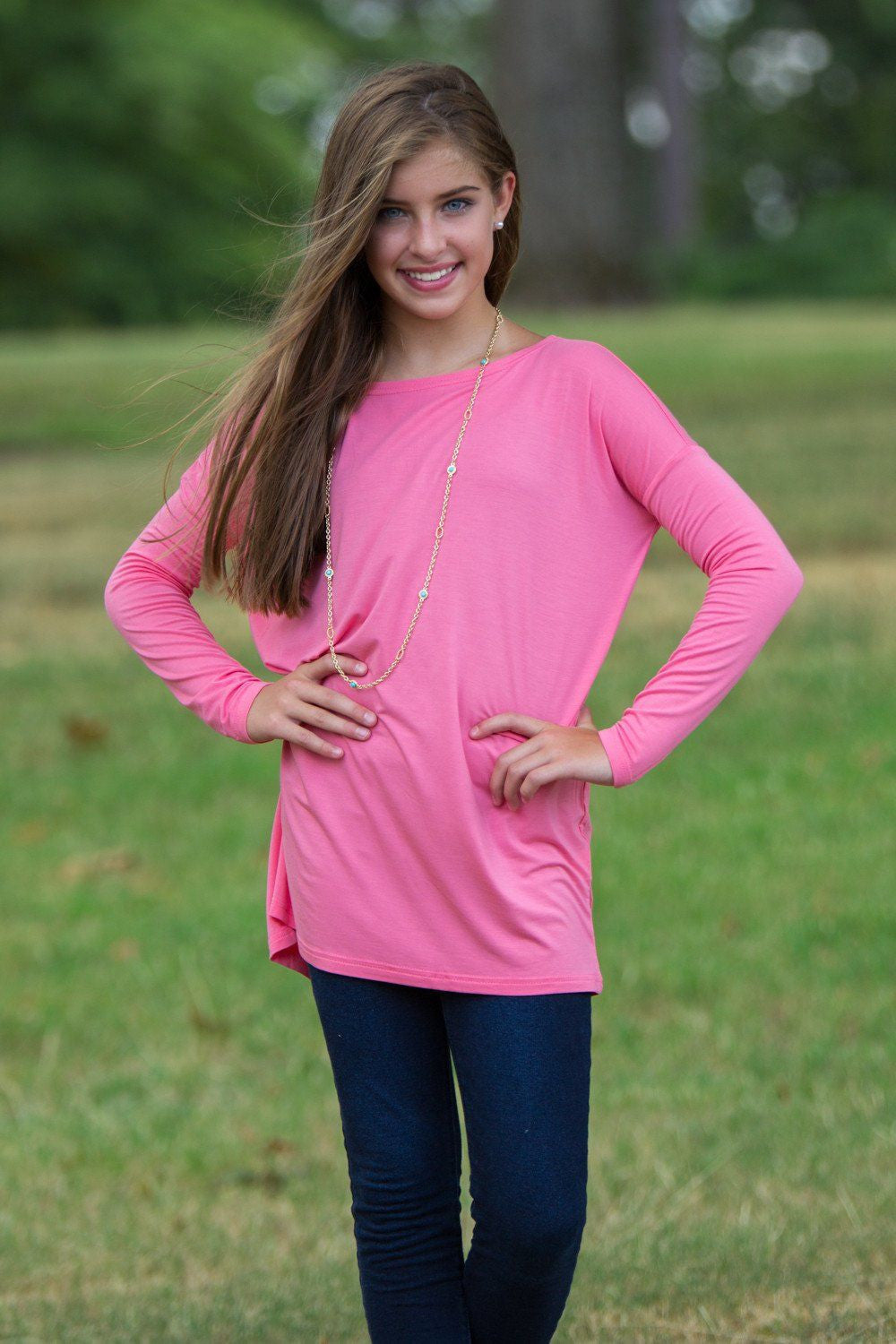 Long Sleeve Kids Piko Top - Pink - Piko Clothing