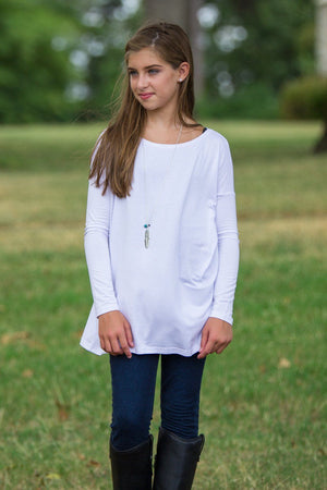 Long Sleeve Kids Piko Top - White - Piko Clothing