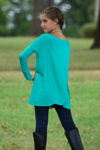 Long Sleeve Kids Piko Top - Light Green - Piko Clothing