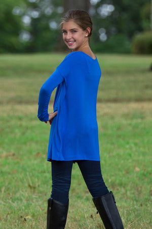 Long Sleeve Kids Piko Top - Classic Blue - Piko Clothing