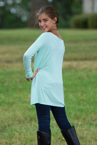 Long Sleeve Kids Piko Top - Mint - Piko Clothing