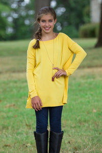 Long Sleeve Kids Piko Top - Mustard - Piko Clothing