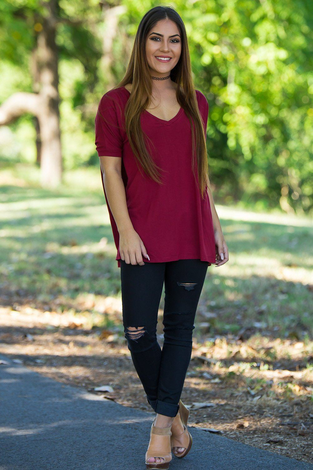 Short Sleeve V-Neck Piko Top - Wine - Piko Clothing - 1