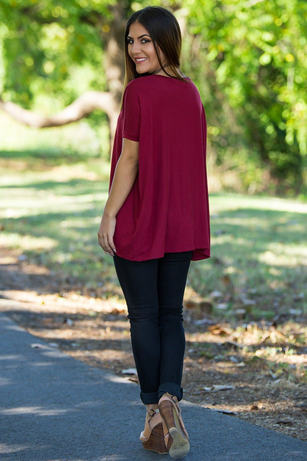 Short Sleeve V-Neck Piko Top - Wine - Piko Clothing - 2