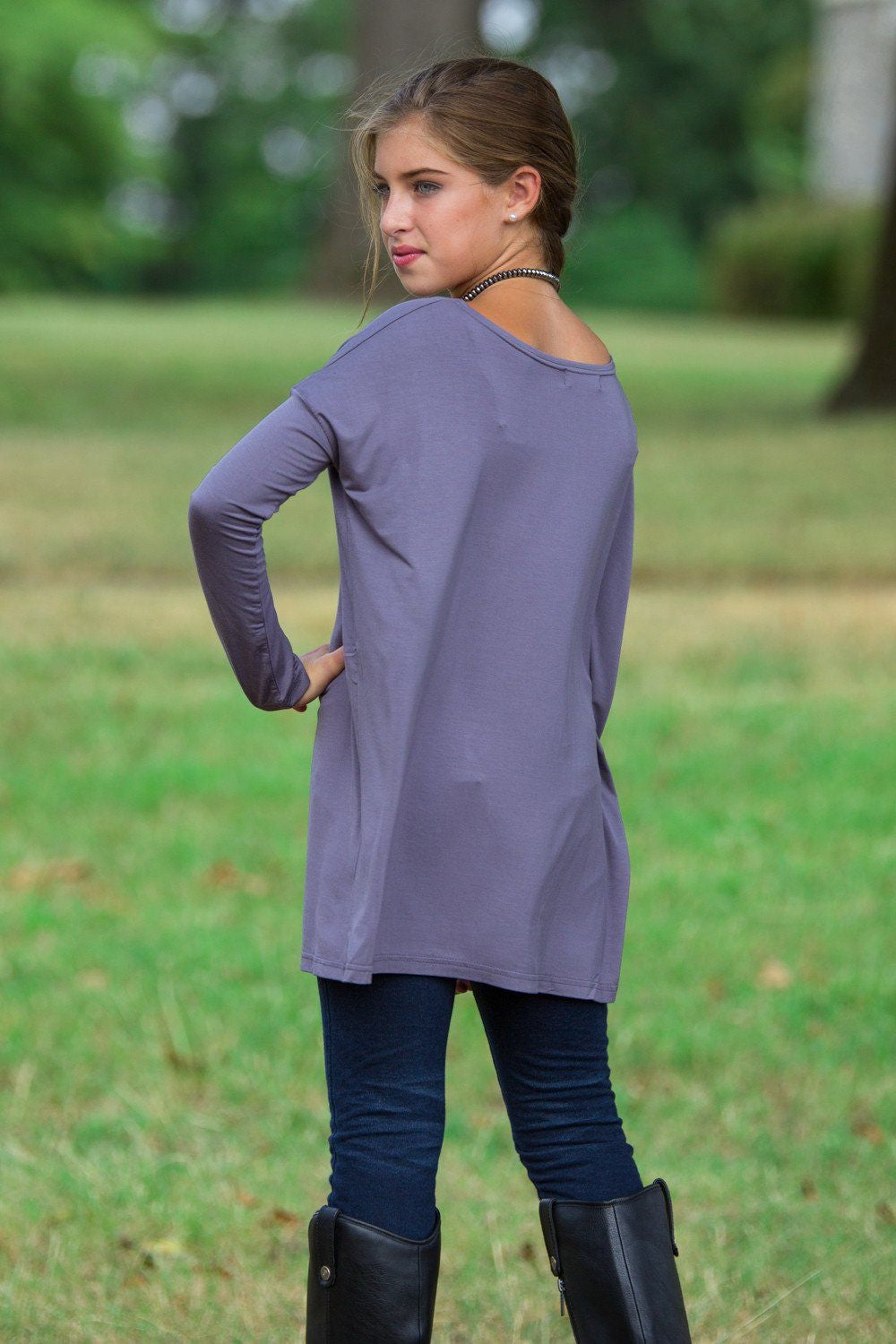 Long Sleeve Kids Piko Top - Charcoal Grey - Piko Clothing