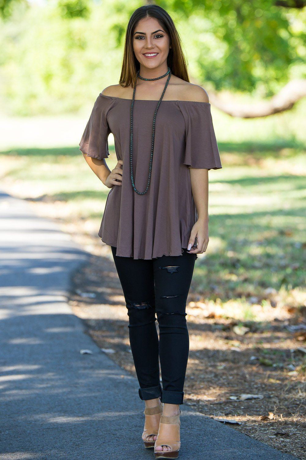 Off The Shoulder Short Sleeve Piko Top - Brown - Piko Clothing