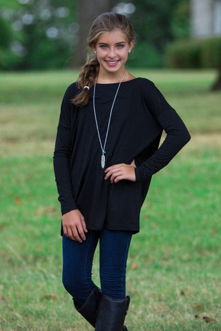 Long Sleeve Kids Piko Top - Black - Piko Clothing