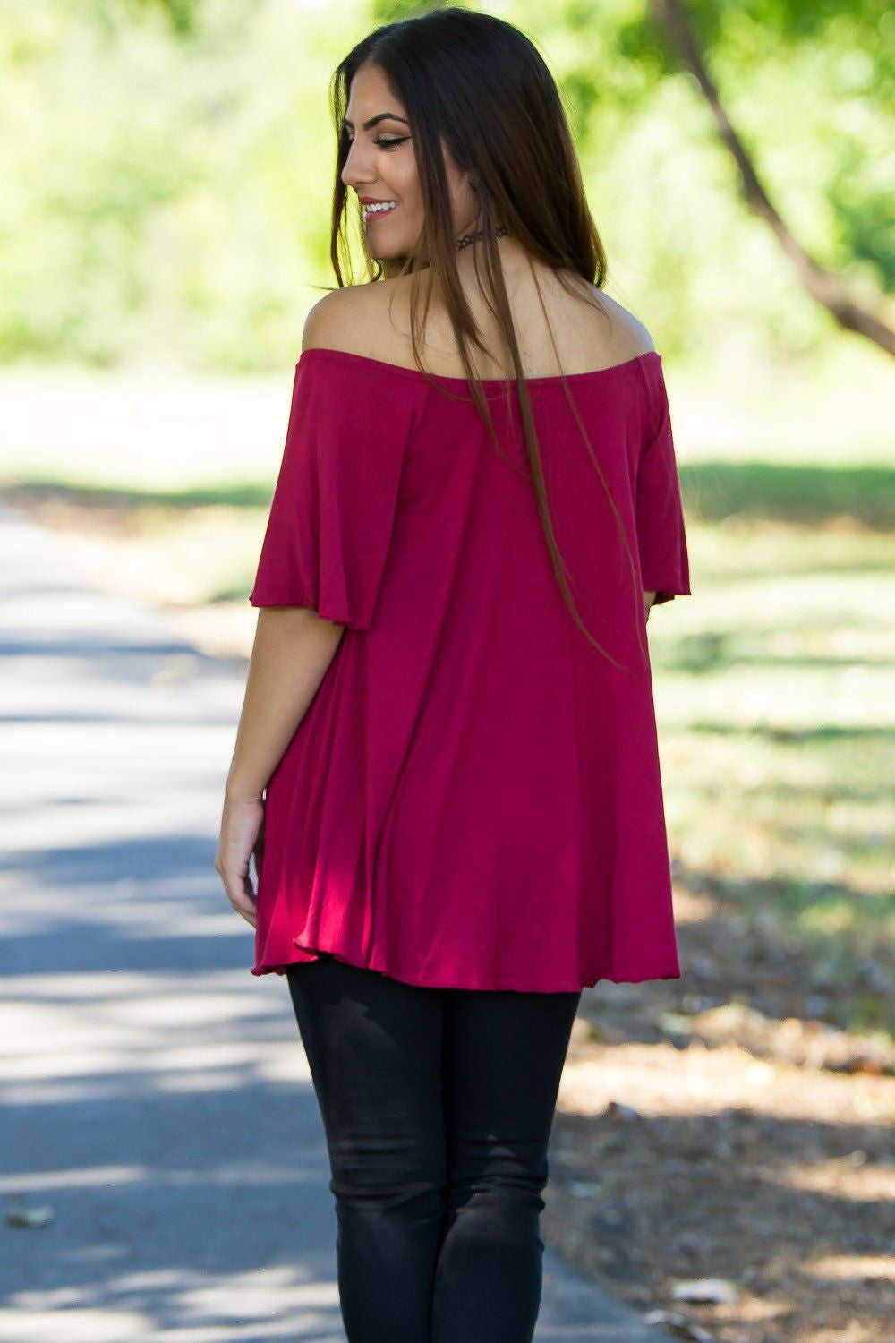 Off The Shoulder Short Sleeve Piko Top - Wine - Piko Clothing