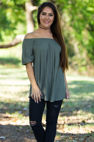 Off The Shoulder Short Sleeve Piko Top - Army - Piko Clothing