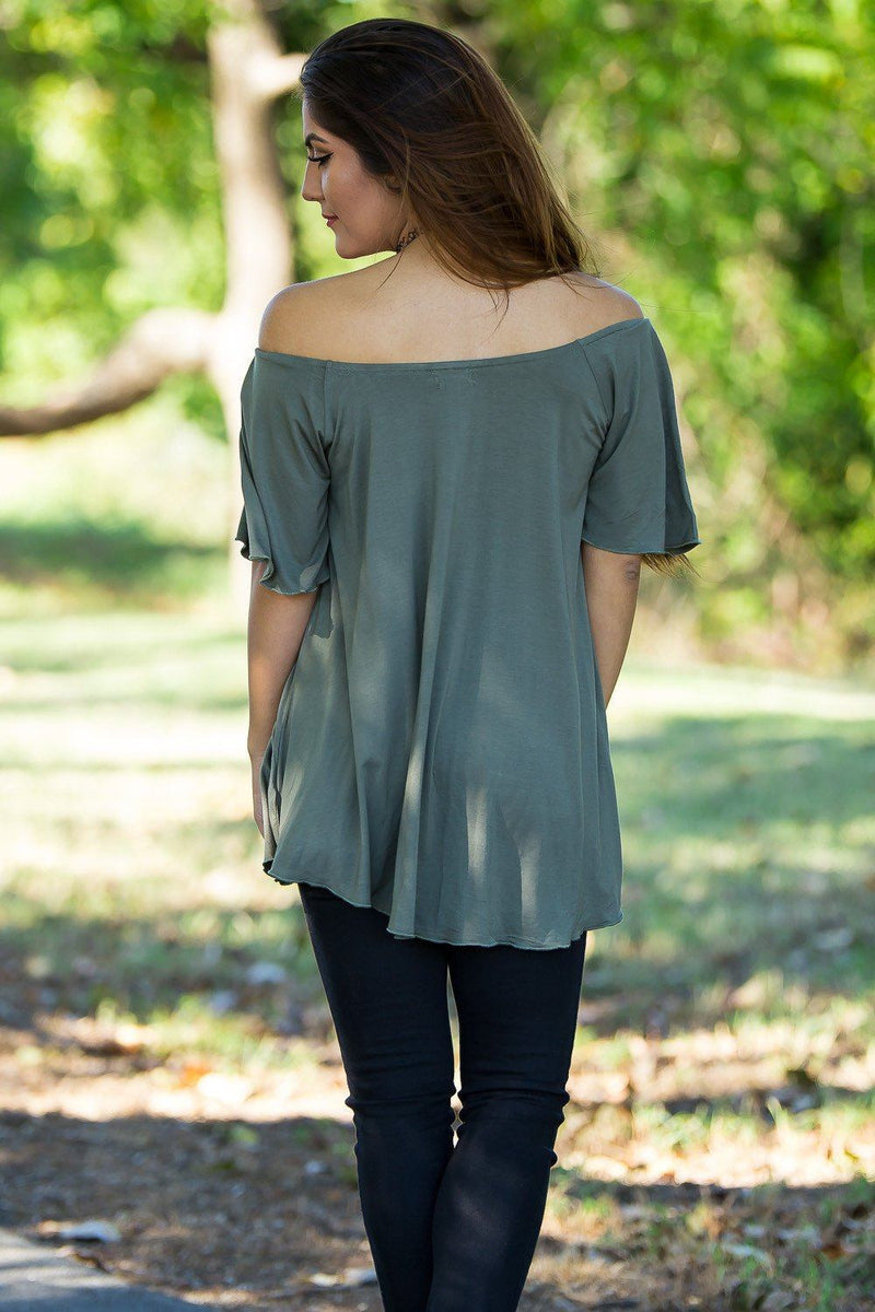 Off The Shoulder Short Sleeve Piko Top - Army - Piko Clothing - 2