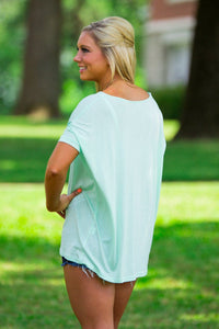 Short Sleeve V-Neck Piko Top - Mint - Piko Clothing