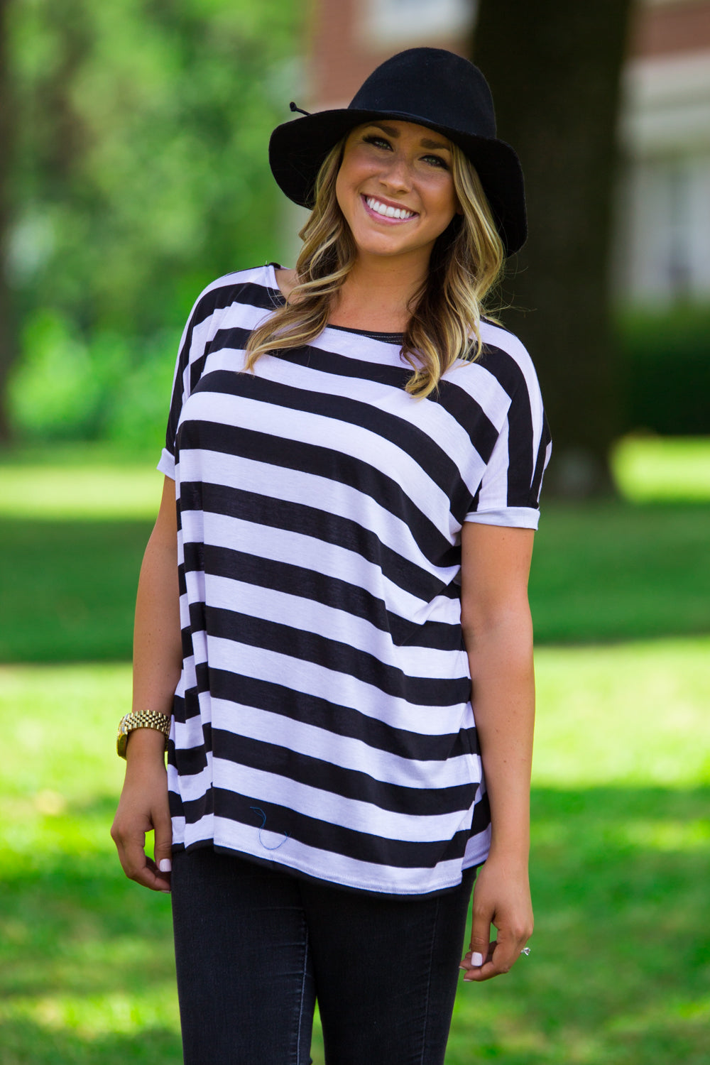 Short Sleeve Thick Stripe Piko Top - Black/White - Piko Clothing