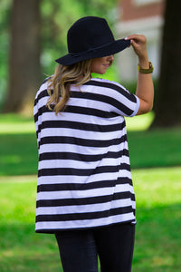 Short Sleeve Thick Stripe Piko Top - Black/White