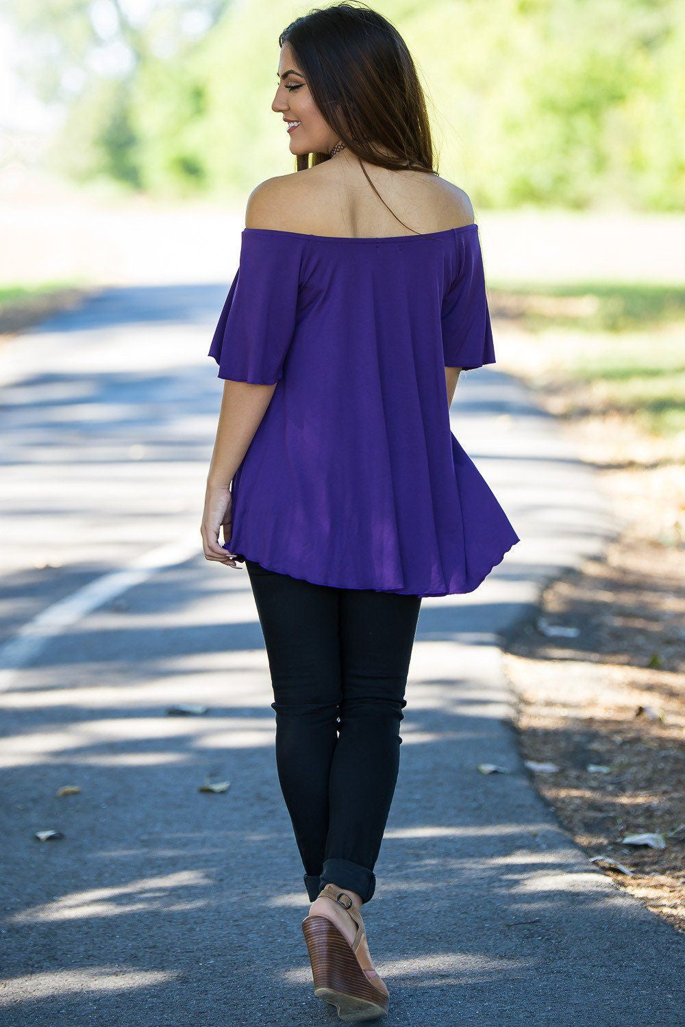 Off The Shoulder Short Sleeve Piko Top - Dark Purple - Piko Clothing