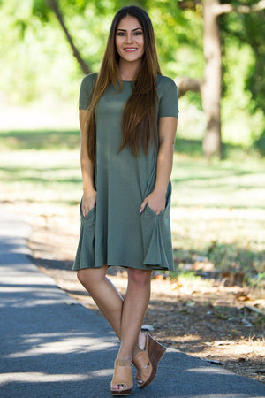 Piko Short Sleeve Swing Dress - Army - Piko Clothing - 1
